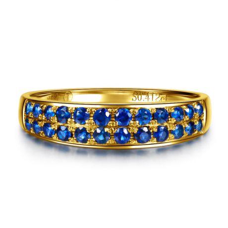 Anello con Zaffiri blu - Oro giallo 18 carati