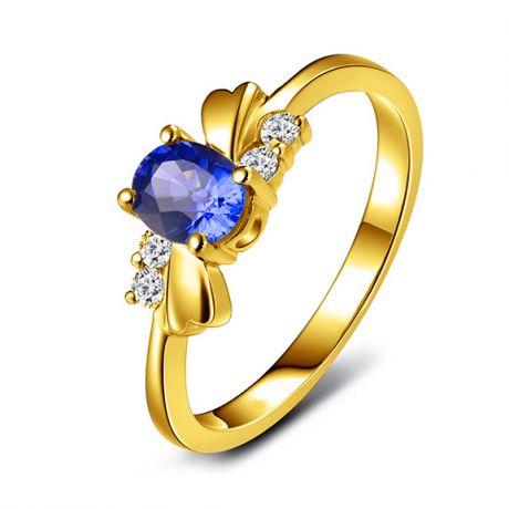 Anello zaffiro solitario - Oro giallo 18 carati - Diamanti incastonati