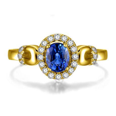 Solitario con Zaffiro e Diamanti - Oro giallo 18 carati