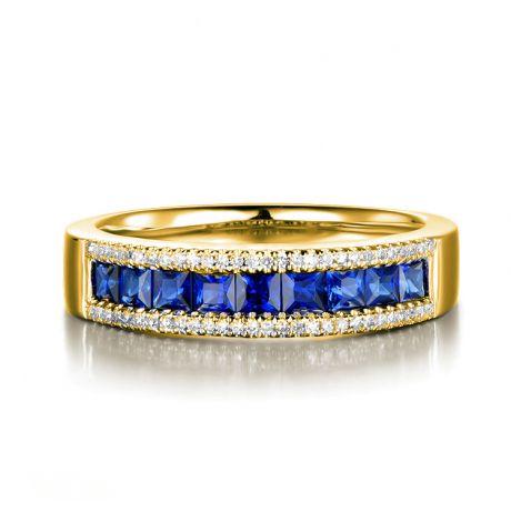 Anello zaffiri e diamanti - oro bianco 18ct