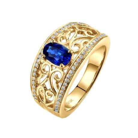 Anello Solitario Hiruni - Zaffiro Bru e incastonature di diamanti
