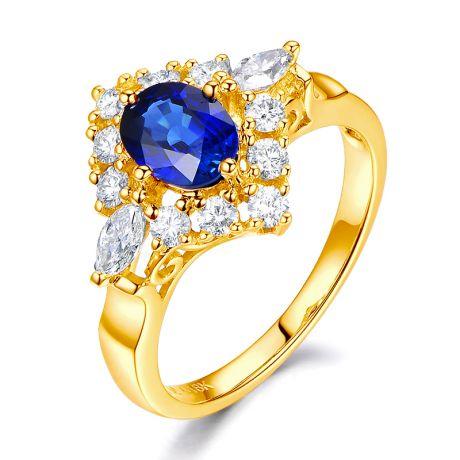 Anello di fidanzamento Zaffiro Diamanti e Oro Giallo