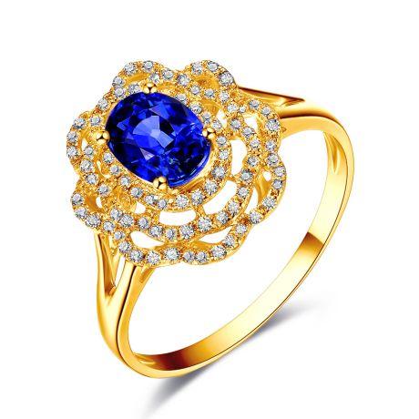 Anello di Fidanzamento Fiore in oro giallo, zaffiri e diamanti
