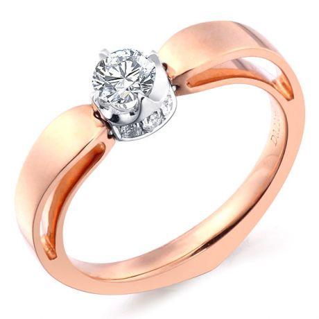 Anello cuore - Oro bianco e rosa - Diamanti 0.160ct