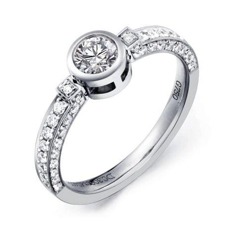 Anello solitario mobile - Oro bianco - Diamanti 0.800ct