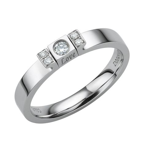 Solitario ciondolo Love - Oro bianco - Diamanti 0.140ct