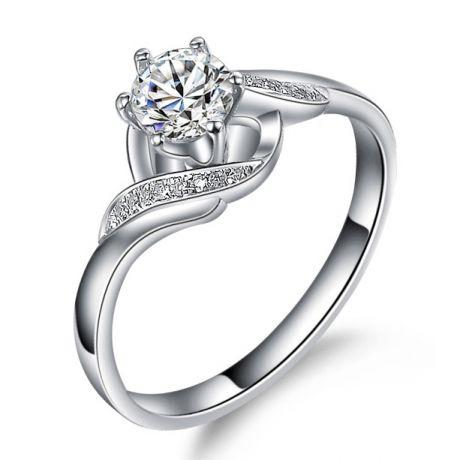 Anello solitario con diamanti - Anello laccio in oro bianco