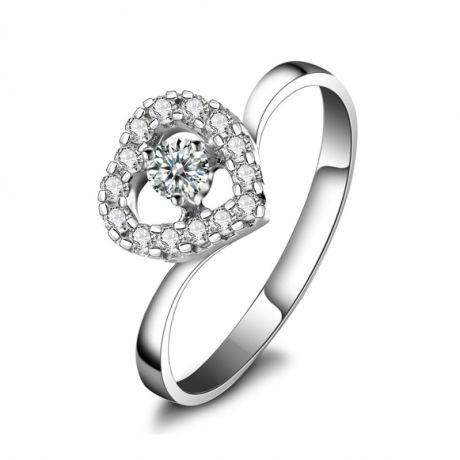 Anello solitario cuore diamantato - Oro bianco Solitario diamante