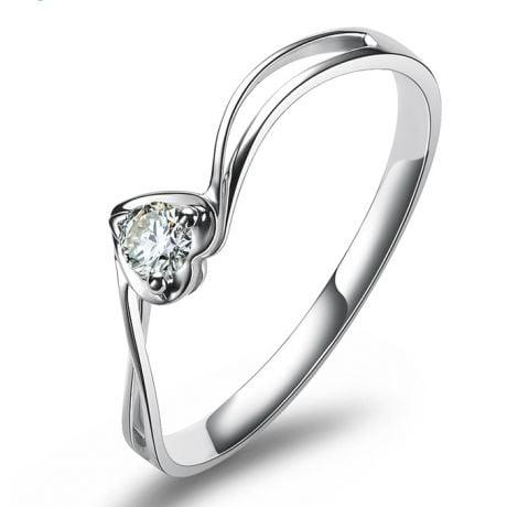 Anello Cuore Solitario - Oro bianco e diamante