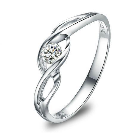 Solitario con diamante taglio brillante - Oro bianco 18 carati