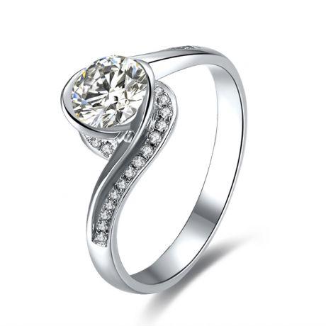 Anello solitario oro bianco, diamanti 0.42ct - Baudelaire, A una Madonna