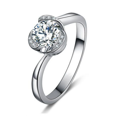Anello solitario in oro bianco 18 carati - Diamanti 0.350 carati