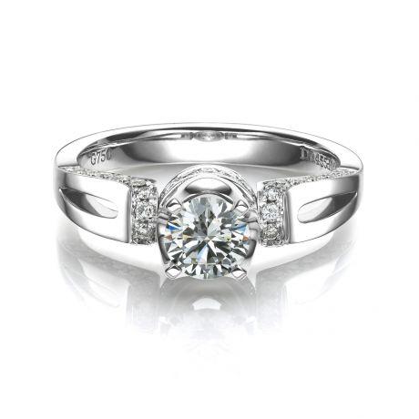 Anello solitario - Oro bianco 3.60gr - Diamanti 0.660ct