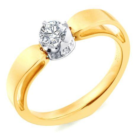 Anello cuore - Oro bianco e giallo - Diamanti 0.160ct