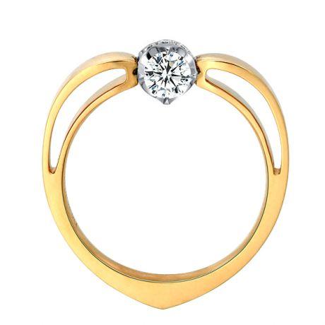 Anello cuore - Oro bianco e giallo - Diamanti 0.260ct