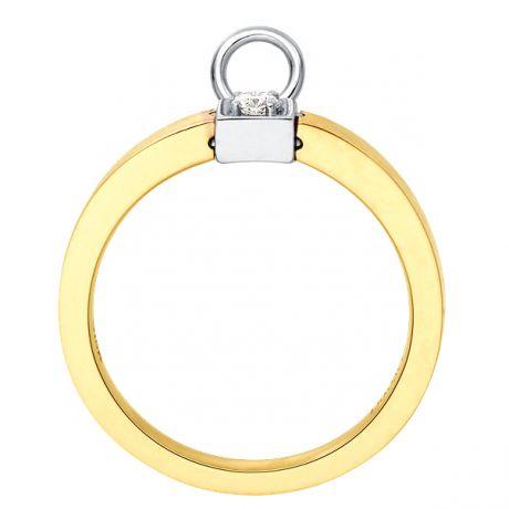 Solitario ciondolo - Oro bianco e giallo - Diamanti 0.050ct