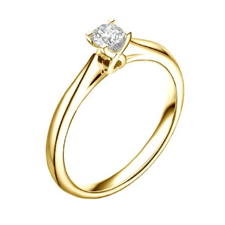 Anello Cuore solitario Donna - Oro giallo - Diamanti 0.190ct