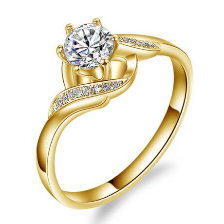 Anello solitario con diamanti - Anello laccio in oro giallo