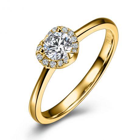 Anello oro giallo - Solitario Cuore con pavé di diamanti