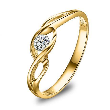 Solitario con diamante taglio brillante - Oro giallo 18 carati