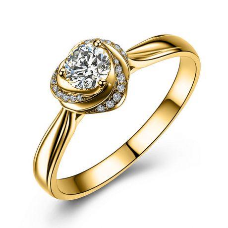 Anello solitario cuore - Oro giallo lucido