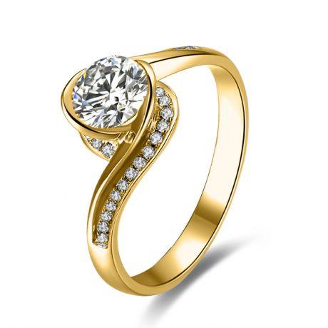 Diamante 0.57ct su anello solitario in oro giallo - Baudelaire