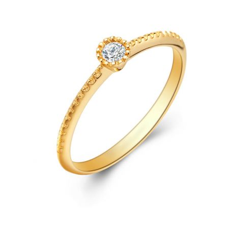 Diamante solitario. Anello in oro giallo 18ct