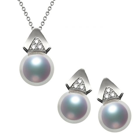 Parure di perle Akoya Tsuguka. Oro bianco e Diamanti