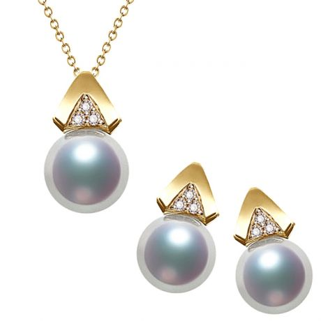 Parure di perle Akoya Tsuguka. Oro giallo e Diamanti