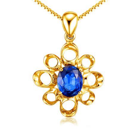 Gioiello ciondolo fiore - Oro giallo 18 carati - Zaffiro