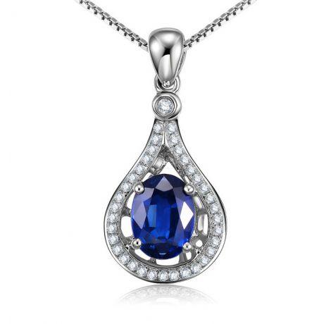 Zaffiro e Diamanti su Oro Bianco - Ciondolo Ovale