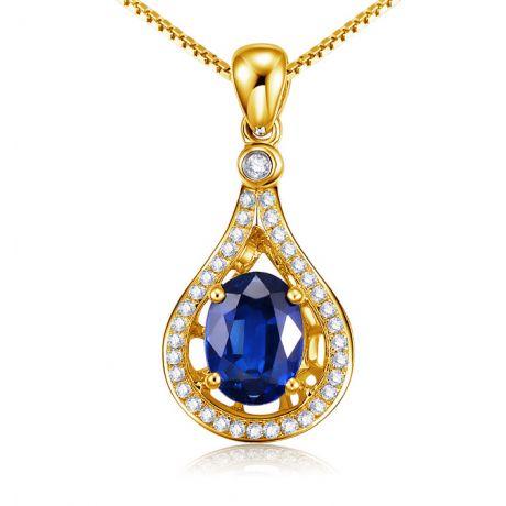 Zaffiro e Diamanti su Oro giallo - Ciondolo Ovale