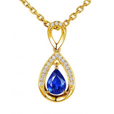 Ciondolo Zaffiro taglio Pera - Oro giallo e diamanti