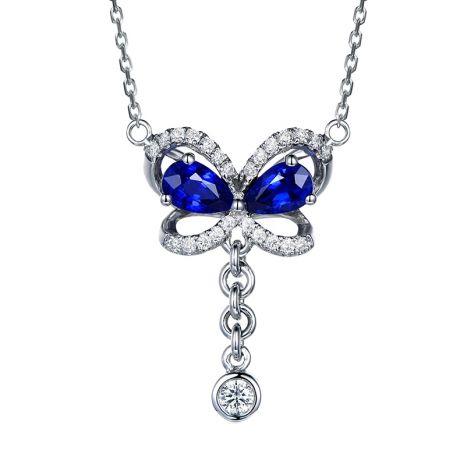 Ciondolo Farfalla blu - Oro bianco, Diamanti e Zaffiro