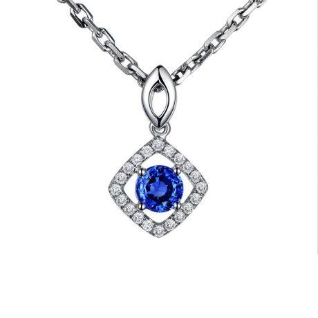 Ciondolo Rombo Diamantato in oro bianco - Zaffiro blu