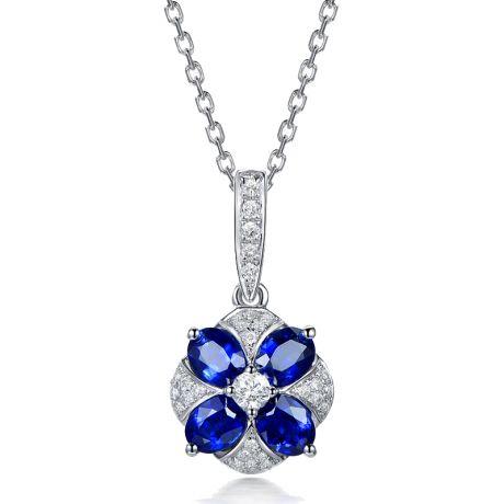 Ciondolo Solitario Fiore Blu. Oro bianco, Zaffiri e Diamanti