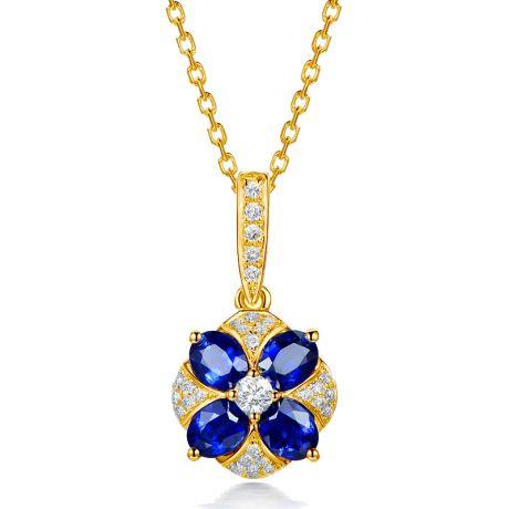 Ciondolo Solitario Fiore Blu. Oro giallo, Zaffiri e Diamanti