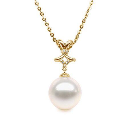 Ciondolo fiocco classico - Oro giallo - Perla d'acqua dolce bianca