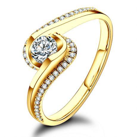 Anello A una passante - Oro giallo e diamanti