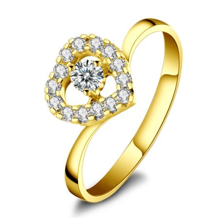 Anello solitario cuore diamantato - Oro giallo solitario diamante