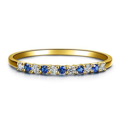 Anello con Diamanti e Zaffiri - Oro giallo 18 carati