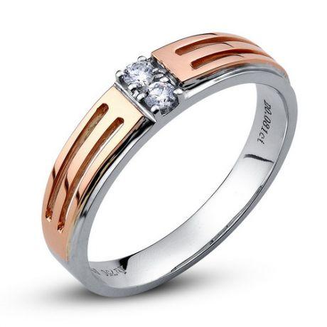 Fede Donna - 2 Ori 1.70gr - Diamanti 0.030ct