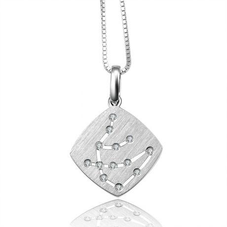 Ciondolo astrologico - Costellazione dell'acquario - Oro bianco, diamanti