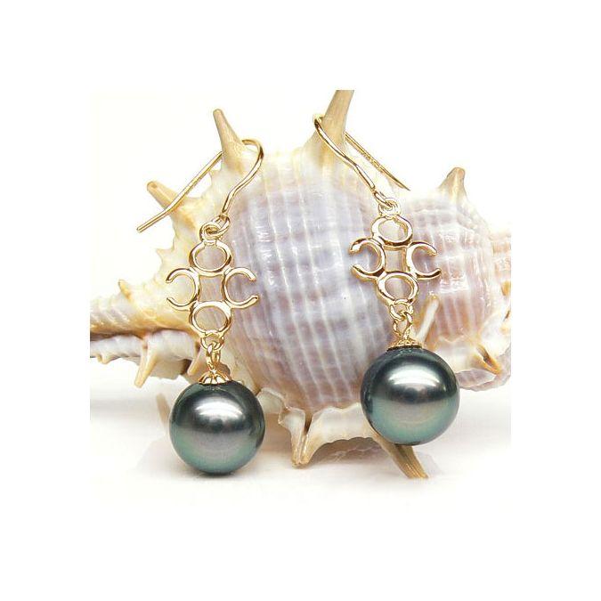 Orecchini - Gancio oro giallo - Perle di Tahiti nere, blu, verdi - 9/10mm