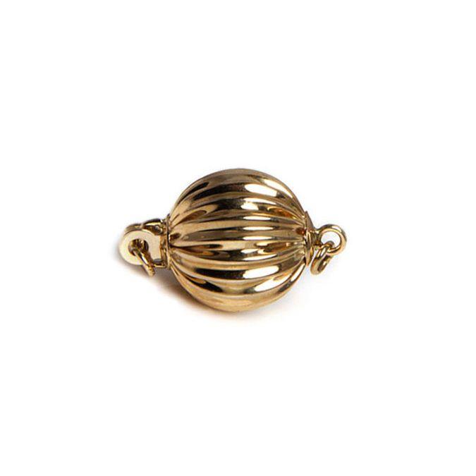 Chiusura Boccino. Palla striata 10mm - Oro giallo 14 carati. 15e