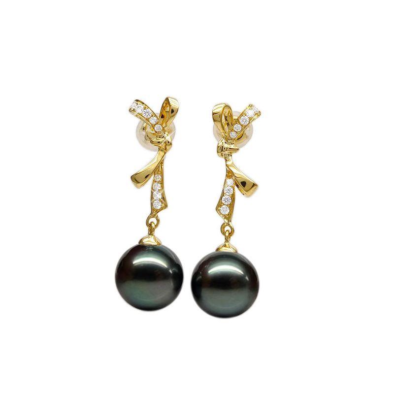 Orecchini fiocco - Pendenti oro giallo -  Perle di Tahiti nere, verdi - 10/11mm