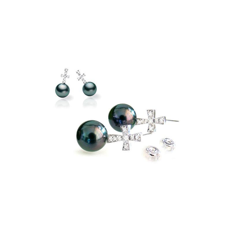 Orecchini croce - Pendenti oro bianco - Perle di Tahiti nere, pavone - 9/10mm