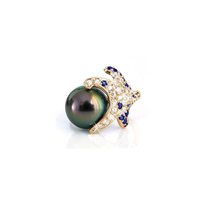 Anello stella oro giallo - Perla di Tahiti nera, pavone - 10.5/11mm