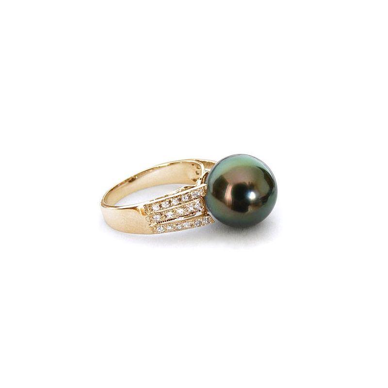 Anello classico oro giallo - Perla di Tahiti nera, pavone, melanzana - 10/11mm