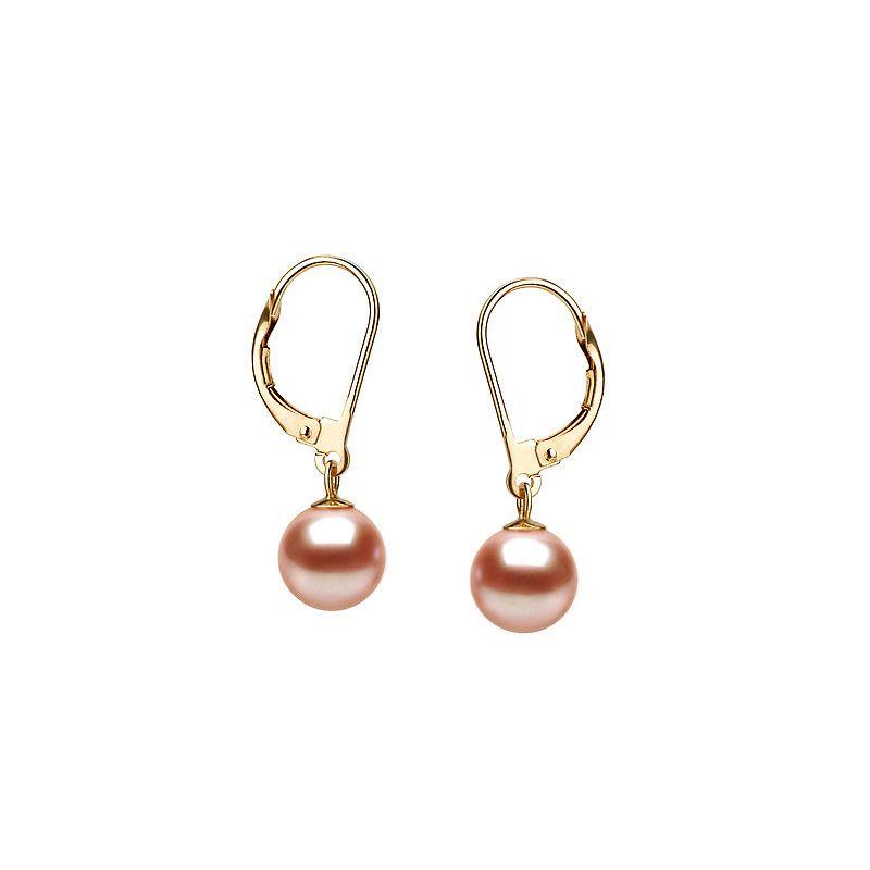 Orecchini perle acqua dolce rosa. Monachella oro giallo - 8/9mm. AAA